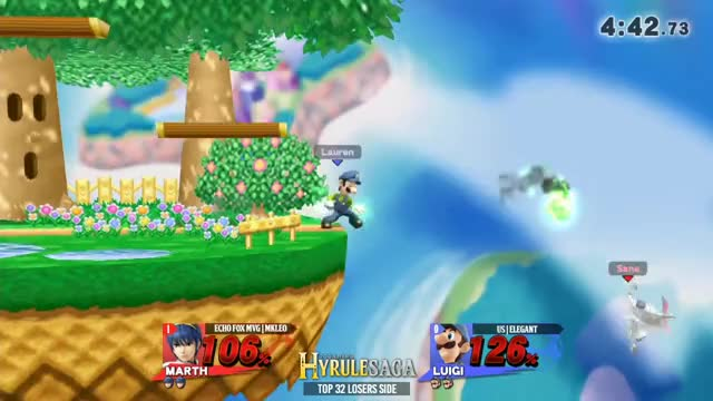 Marth Ledge Trapping3 (Dtilt): Hyrule Saga - Echo Fox MVG | MKLeo (Marth) Vs. uS | Elegant (Luigi) Top 32 Losers Side - Smash 4