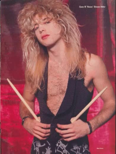 Watch Slash hair GIF on Gfycat. Discover more 80s, Steven Adler, animated, band, drummer, gif, gnr, guns and roses, guns n roses, hard rock, michael coletti, music, old, popcorn, rock, rock n roll, where is steven?, young GIFs on Gfycat