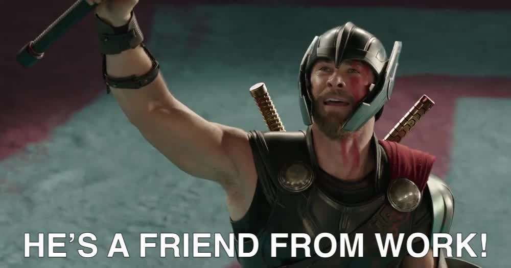 chris hemsworth, colleague, coworker, friend, gif brewery, marvel, movies, thor, thor ragnarkok, thor ragnarok, thor-ragnarok-teaser-trailer-hd, work friend, HE'S A FRIEND FROM WORK! GIFs