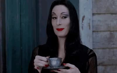 Watch this trending GIF by @dorkstranger on Gfycat. Discover more Anjelica Huston, goth, morticia addams, tea GIFs on Gfycat