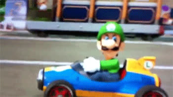 gaming, luigi, mariokart, nintendo, super mario, video games, Luigi Death Stare Mariokart GIFs