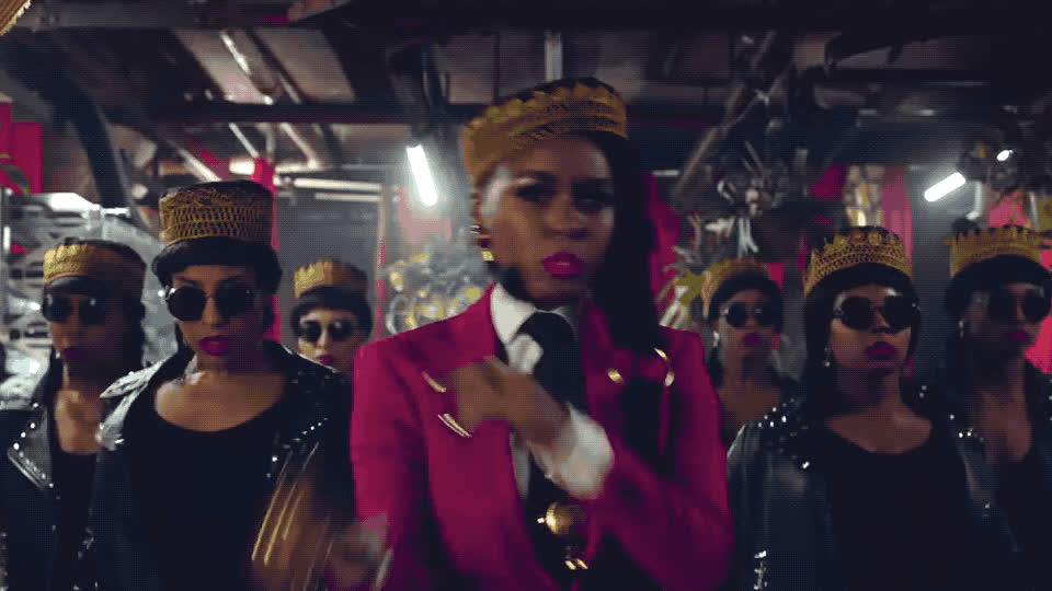 beautiful, clip, cute, django, here, i, i do, jane, janelle, me, monae, myself, new, official, proud, red, suit, video, Janelle Monae - Django Jane GIFs