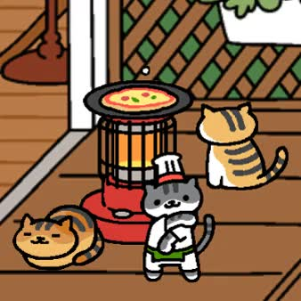 Pizza party.gif : nekoatsume GIFs
