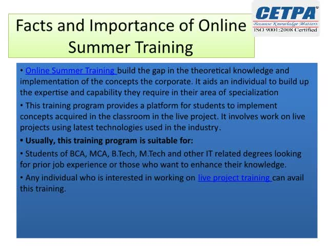 Watch and share Facts And Importance Of Online Summer Training GIFs by cetpainfotech on Gfycat