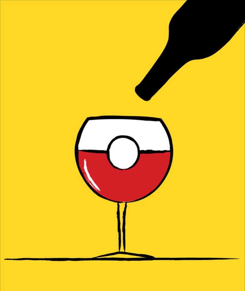 art, ball, bottle, cartoon, celebration, downsign, downsign gif, drink, drop, illustration, party, poke, poke ball, pokemon, red wine, sam omo, tgif, weekend, wine, yellow, PokeBall GIFs