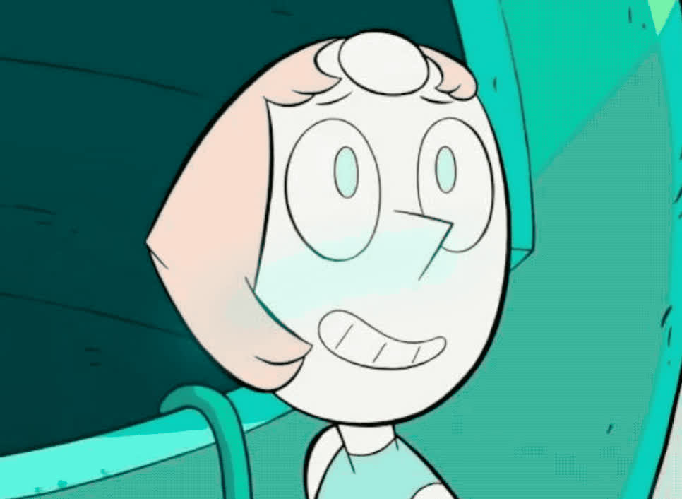 apologies, awkward, bad, blush, blushing, cartoon, did, embarrassed, fart, green, mistake, my, network, oops, pearl, shy, smile, steven, thing, universe, Pearl is blushing GIFs