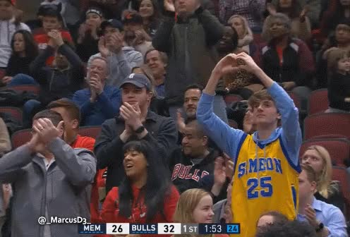 Watch Bulls fan wearing Derrick Rose Simeon jersey giving Joakim Noah some love. GIF by MarcusD (@-marcusd-) on Gfycat. Discover more related GIFs on Gfycat