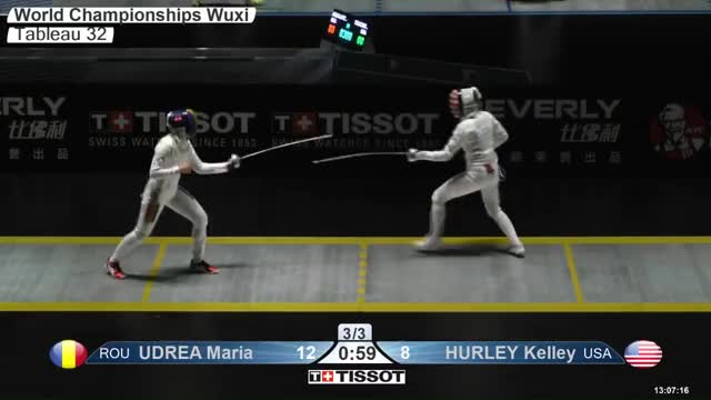 Watch UDREA Maria 12 GIF by Scott Dubinsky (@fencingdatabase) on Gfycat. Discover more gender: female, leftname: UDREA Maria, leftscore: 12, rightname: iURLEY Kelley, rightscore: 9, time: 00000885, touch: right, tournament: wuxi2018, weapon: epee GIFs on Gfycat