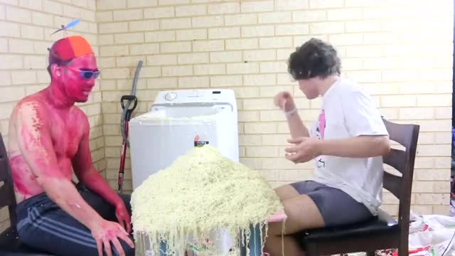 The Ramen Off challenge video, filthy, funny, hilarious, australian, comedian, comedy, crazy, stupid, tvfilthyfrank, filthyfrank, filthy frank, howtobasic, featuring filthyfrank, maxmoefoe and filthyfrank, ramen, ramen devil, the ramen devil, noodles, ramen challenge, dumb, cooking ramen in a washing machine, hair cake, pink guy GIF