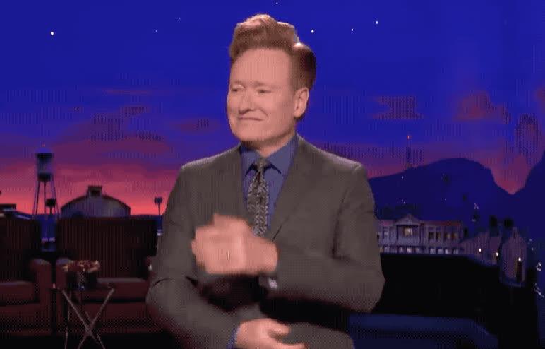 birthday, blush, conan, cute, embarrassed, god, it, my, o'brien, oh, omg, show, shy, stop, Conan is embarrassed GIFs