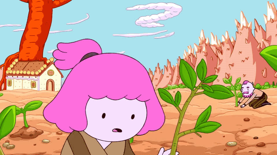 adventure, got, gum, hair, hard, history, land, of, ok, phew, pink, relieved, sweat, teamwork, the, this, time, war, work, worker, Adventure Time - History of the gum war GIFs