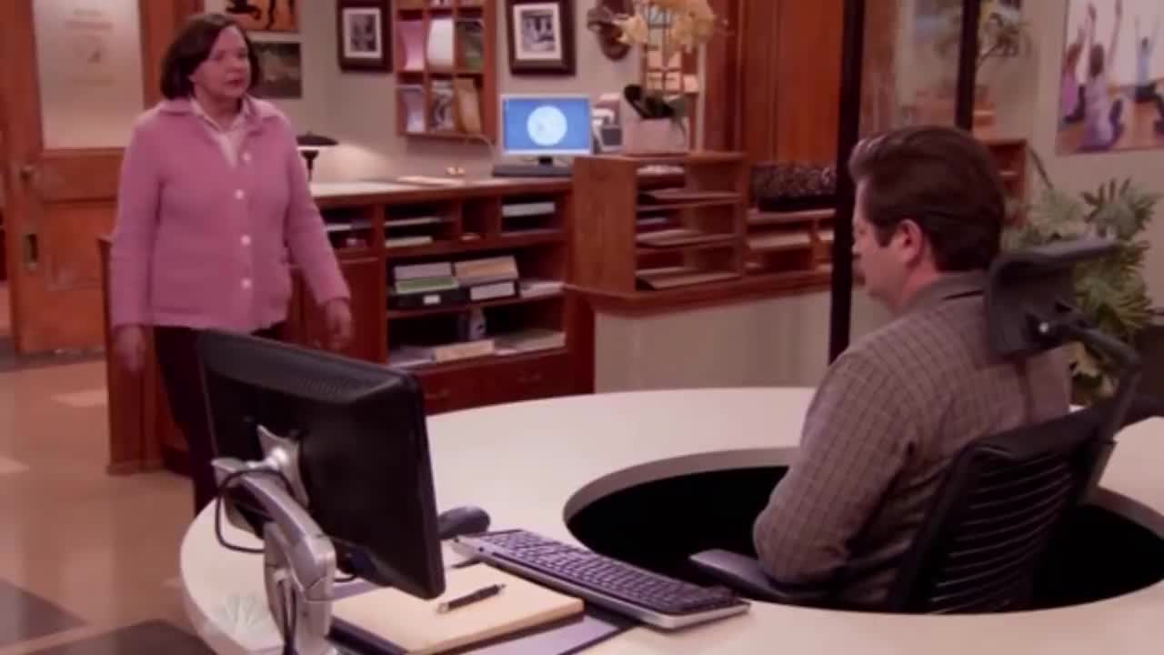 Parks And Recreation Ron Swanson And The Swivel Chair Gif