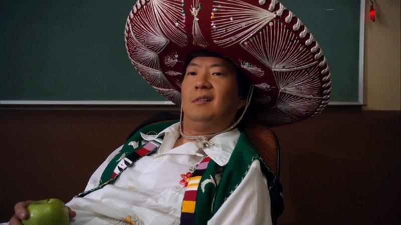 cinco de mayo, criterion, gfycatdepot, ken jeong, Stroking imaginary facial hair / beard. Evil. [Community Senor Ben Change Ken Jeong Mexican hat] (reddit) GIFs