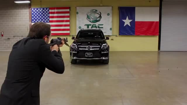 Watch and share Company Showcasing Their Armored Vehicles By Firing An AK-47 At Their CEO While He's Sitting In One GIFs by tothetenthpower on Gfycat