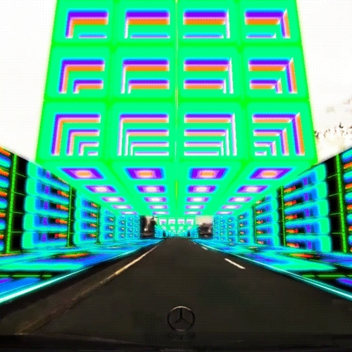 GIF, autobahn, colors, cube, cubes, groovy, high, lsd, mercedes benz, psychedelic, run, speed, trip,  GIFs