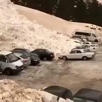 Orange Snow Avalanche in Russia