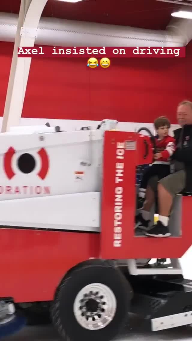 Mike Green's son Axel gets his dream of driving a Zamboni GIFs