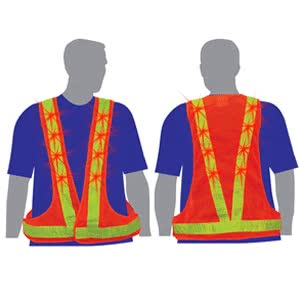 Watch Light Up Safety Vest - Red Flashing LEDs - Orange with Lime Stripe GIF on Gfycat. Discover more related GIFs on Gfycat