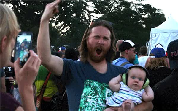 Watch and share MOM Ti Baby Rock Concert Freakout GIFs on Gfycat