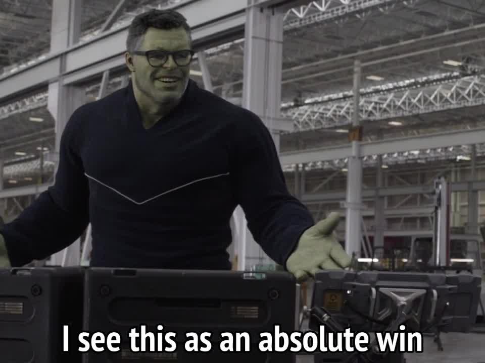 avengers endgame, hulk, mark ruffalo, victory, win, winning, Avengers Endgame - I see this as an absolute win GIFs