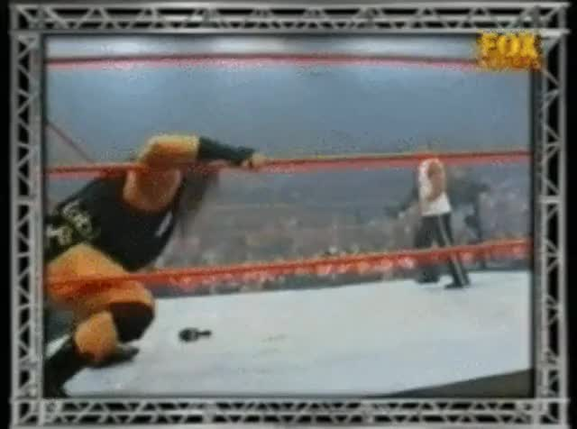 Watch and share Rhyno Gores The F**k Out Of The Rock : SquaredCircle GIFs on Gfycat