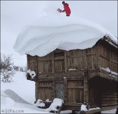 Watch and share Thors Snow Shovel Roof GIFs on Gfycat