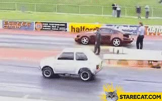 Watch and share Fiat 126p Wins Against Porsche GIF Animation GIFs on Gfycat