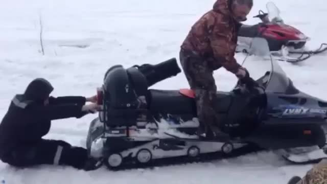 Watch and share Drunk Russian Eaten By Snowmobile GIFs on Gfycat