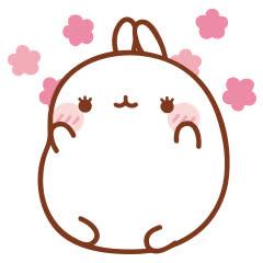 aww, awww, blush, bunny, cute, flowers, hug, pink, rabbit, shy, sweet, Blushy bunny GIFs