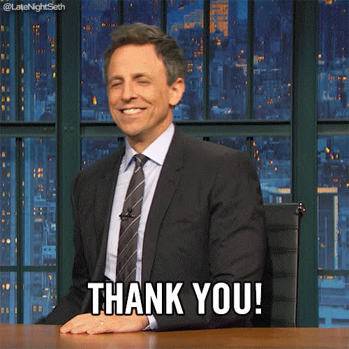 mega phone, seth meyers, thank you, thanks, Seth Meyers Thank You GIFs