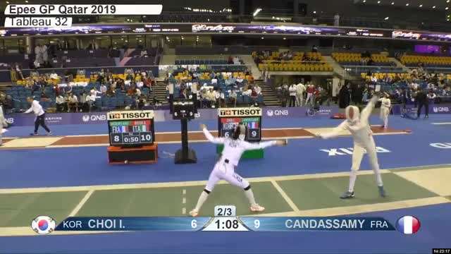 Watch CHOI L 6 GIF by Scott Dubinsky (@fencingdatabase) on Gfycat. Discover more gender:, leftname: CHOI L, leftscore: 6, rightname: CAN DASSAMY, rightscore: 10, time: 00021482, touch: right, tournament: doha2019, weapon: epee GIFs on Gfycat