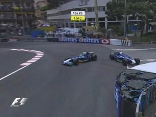 formula1gifs, Villeneuve takes his team mate Massa off the track - Monaco 2005 (reddit) GIFs