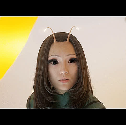 alien, aliens, cute, disagree, do not want, don't want, guardians of the galaxy, i disagree, mantis, no, pom klementieff, pretty, reaction, vol 2, weird,  GIFs