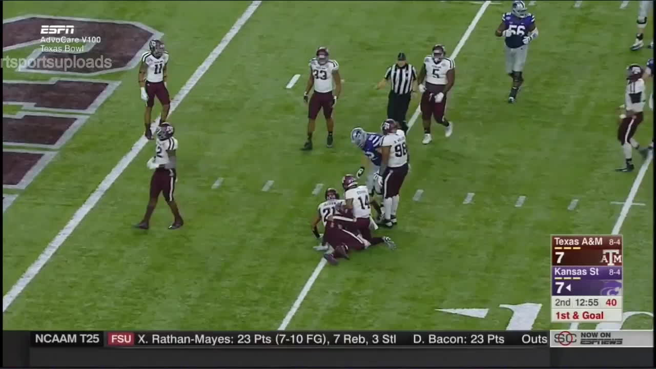 Ertz, K-State, Stiff arm, Texas A&M, bitch slap, Jesse Ertz K-State stiff arm TD v. Texas A&M Kansas State GIFs