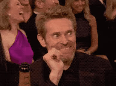 2018, dafoe, evil, funny, globes, golden, golden globes, ha, haha, hilarious, joke, laugh, lol, loud, meyers, out, reaction, seth, smile, willem, Willem Dafoe reacted to Seth Meyers' joke GIFs