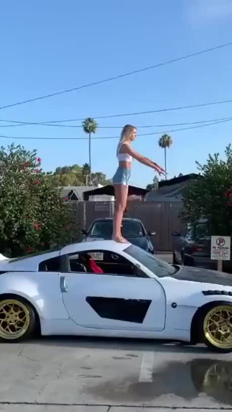 Backflip on car - gif