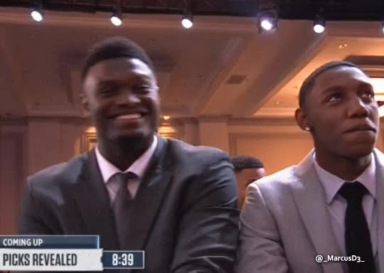 Watch and share Zion Williamson Peace Sign Reaction At 2019 NBA Draft Lottery GIFs by MarcusD on Gfycat