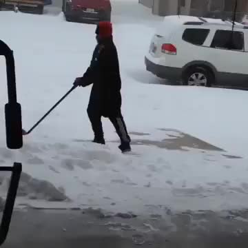 Watch and share Guy Falling For 9 Seconds While Trying To Shovel Snow GIFs on Gfycat