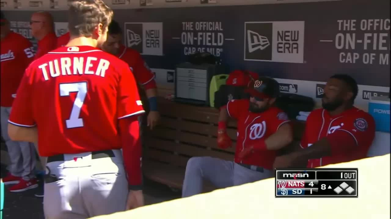 nationals, washington nationals, adam eaton and howie kendrick dugout racing GIFs