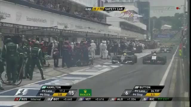 Watch and share 2014 Hungarian GP - Perez And Gutierrez Drag Racing Out The Pit Lane GIFs by aamantubillah on Gfycat