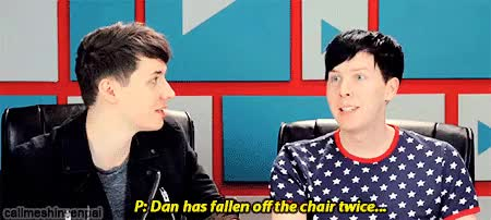Watch double falling off chair GIF on Gfycat. Discover more 5 nights at freddy's, amazingphil, dan, dan howell, danisnotonfire, memeboy fell off chair, mine, my edit, phan, phil, phil lester, youtubers react GIFs on Gfycat