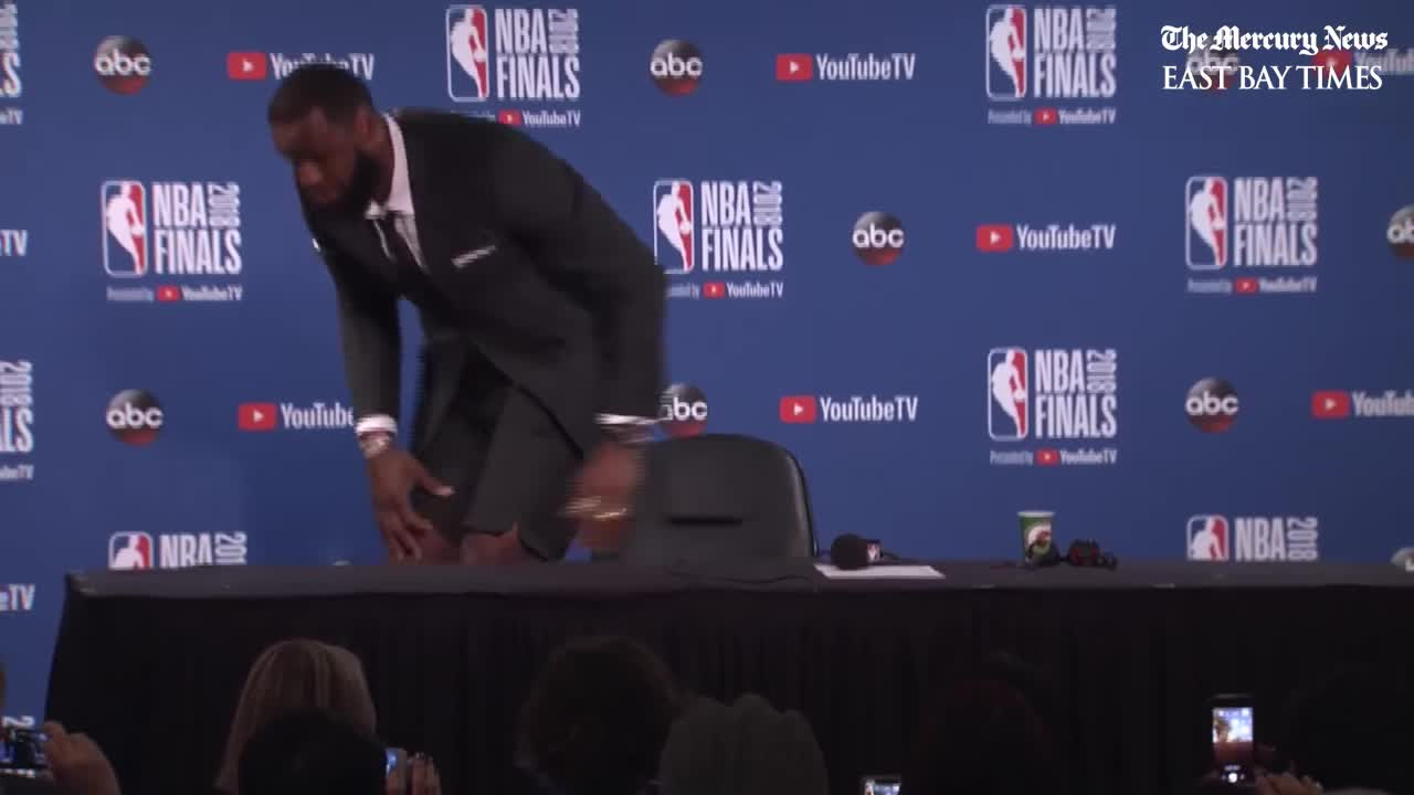 Bay Area, California, Cavs, Cleveland Cavaliers, Dub Nation, Dubs, Golden State Warriors, San Jose, The Mercury News, Warriors, NBA Finals: LeBron James abruptly exits press conference GIFs