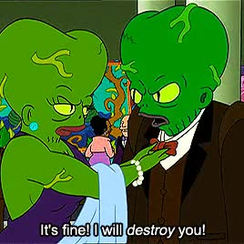 Watch this GIF on Gfycat. Discover more bite my shiny digital queue, futurama, futurama nerd, gifset, maurice lamarche, morbo, morbo the annihilator, original, queue GIFs on Gfycat