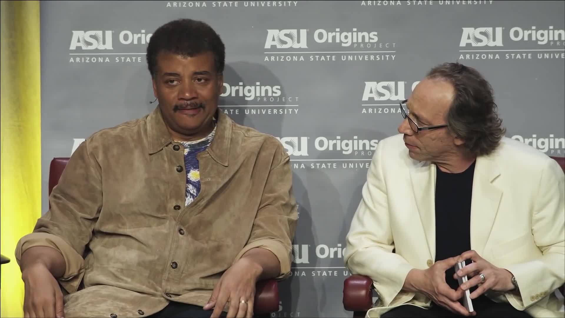 ASU, Lawrence Krauss, Neil deGrasse Tyson, Origins, Project, Science, Storytelling, Neil deGrasse Tyson neck roll GIFs