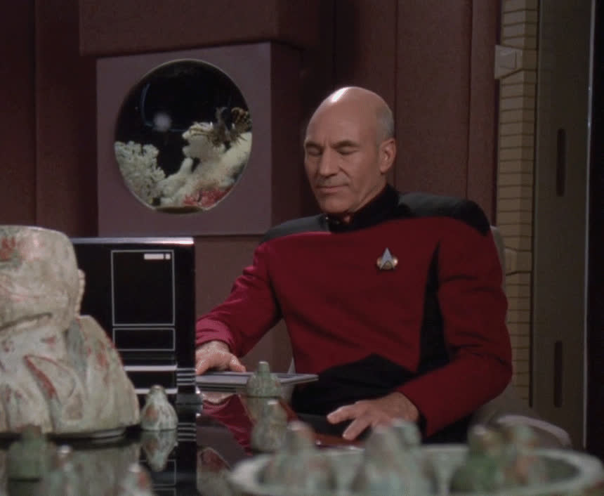 Bloopers, Captain Picard, Jean-Luc Picard, Patrick Stewart, Picard, Star Trek, Star Trek The Next Generation, TNG, The Next Generation, jimcook1, MRW I realize the reason I have extra money in my account is because I forgot to pay a bill GIFs