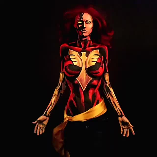 bodyart, calgary, comic, comicbooks, comics, cosplay, darkphoenix, jackkirby, jeangray, kryolanofficial, makeup, makeupartist, marvel, mehron, mehronmakeup, mua, redhair, stanlee, xmen, yyc, Dark Phoenix is who I painted last time on http://www.twitch.tv/kaypikefashion This insanely powerful very complex character was a joy to cr GIFs