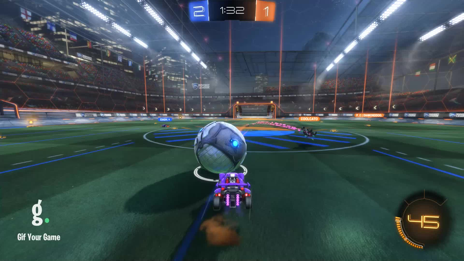 Assist, Gif Your Game, GifYourGame, JAG | Purple, Rocket League, RocketLeague, Assist 3: JAG | Purple GIFs