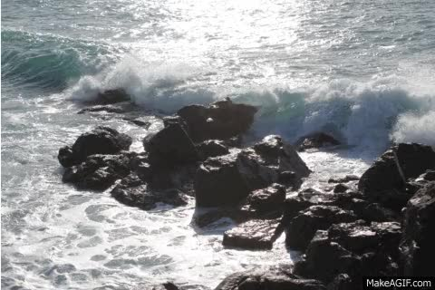 Watch and share Wave Crashing On Rocks animated stickers on Gfycat