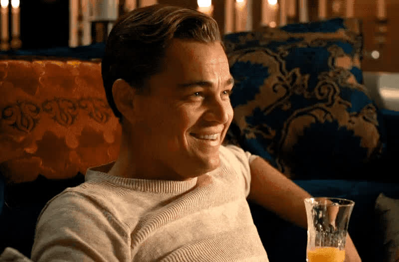 caprio, champagne, di, drink, funny, hilarious, joke, leo, leo dicaprio, leonardo, leonardo dicaprio, lol. laugh, loud, out, smile, Leo laughing GIFs