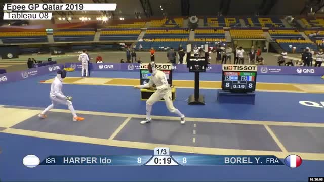 Watch HARPER Ido 9 GIF by Scott Dubinsky (@fencingdatabase) on Gfycat. Discover more gender:, leftname: HARPER Ido, leftscore: 9, rightname: BOREL Y, rightscore: 9, time: 00029433, touch: double, tournament: doha2019, weapon: epee GIFs on Gfycat